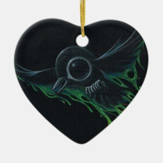 Black as pitch ceramic heart decoration