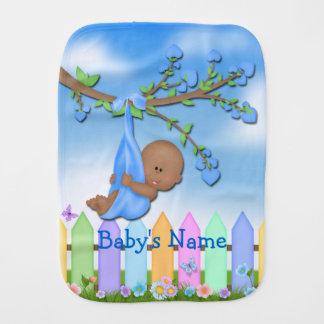 Black Baby Boy - Backyard Cute Baby Burp Cloth