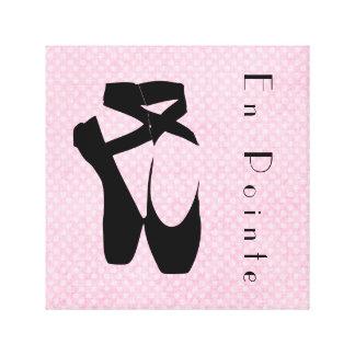 Black Ballet Shoes En Pointe Canvas Print