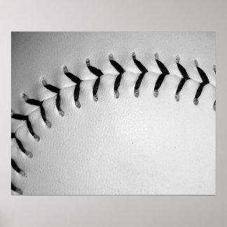 Black Baseball Softball Stitches Print