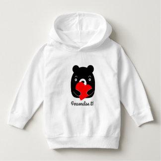 Black bear holding a heart hoodie