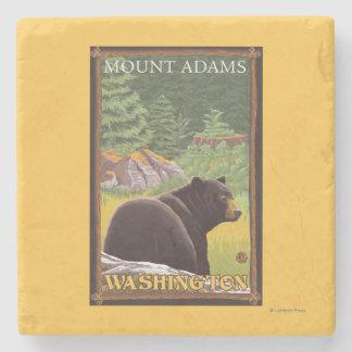 Black Bear in Forest - Mount Adams, Washington Stone Coaster