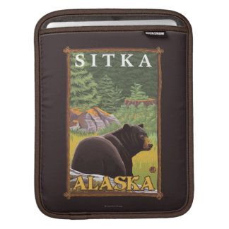 Black Bear in Forest - Sitka, Alaska Sleeves For iPads