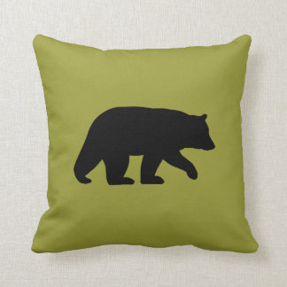 Black Bear Silhouette - Customisable Colour Throw Pillow