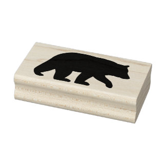Black Bear Silhouette Rubber Stamp
