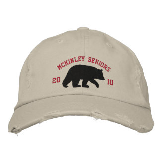 Black Bear with Customizable Text Embroidered Baseball Caps