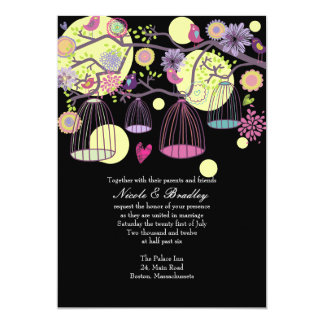 Black Bird Cage Love Birds Wedding Invitation