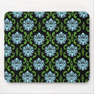 Black, Blue and Green Damask Mouse Pad