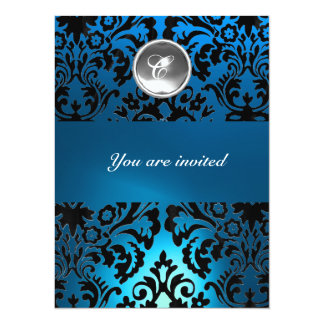 BLACK & BLUE DAMASK GEM STONE MONOGRAM white 14 Cm X 19 Cm Invitation Card