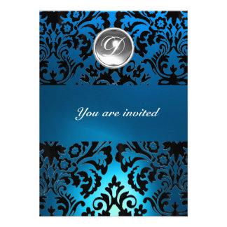 BLACK BLUE DAMASK GEM STONE MONOGRAM white Custom Invitations