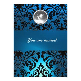 BLACK & BLUE DAMASK GEM STONE MONOGRAM white Custom Announcements