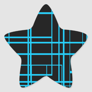 Black &  Blue Laser Design Star Sticker