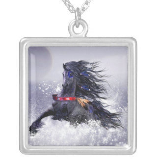 Black Blue Majestic Stallion Indian Horse in Snow Silver Plated Necklace