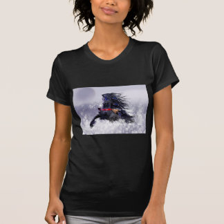 Black Blue Majestic Stallion Indian Horse in Snow T Shirts