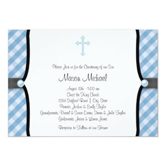 Black Blue Pearl Cross Blue Gingham Christening 13 Cm X 18 Cm Invitation Card