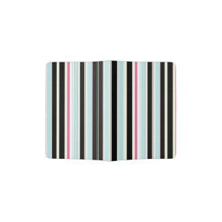 Black Blue White Pink Vertical Stripe Pattern Passport Holder
