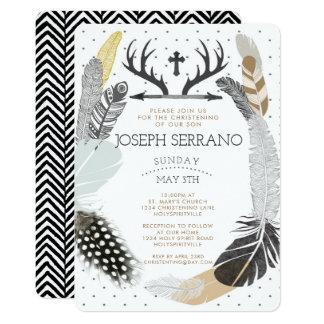 Black Boho Feather Christening Invitation