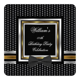 Black Bowtie Gold Silver Studs Birthday Party 13 Cm X 13 Cm Square Invitation Card