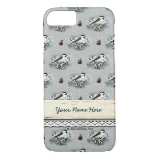 Black Capped Chickadee Bird Brown Pinecones iPhone 8/7 Case