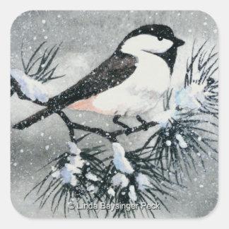 Black Capped Chickadee Bird Square Sticker