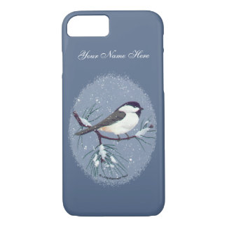 Black Capped Chickadee Oval Painting iPhone 8/7 Case