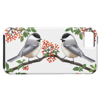 Black Capped Chickadees in Red Berry Bush iPhone 5 Covers