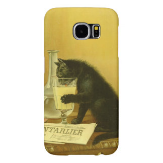 Black Cat Absinthe Bourgeois Art Nouveau Vintage Samsung Galaxy S6 Cases