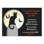 Black Cat and Full Moon Halloween Party 13 Cm X 18 Cm Invitation Card