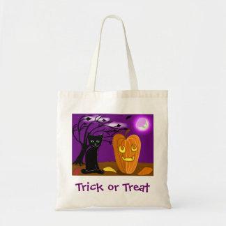 Black Cat and Jackolantern Tote Canvas Bag