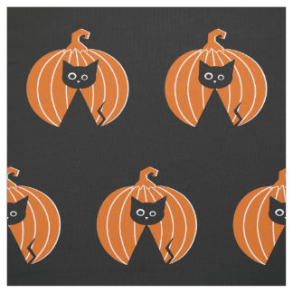 Black Cat {and} Pumpkin Fabric