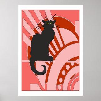 Black Cat Art Deco Poster