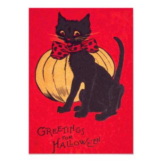Black Cat Bowtie Pumpkin Vintage 13 Cm X 18 Cm Invitation Card