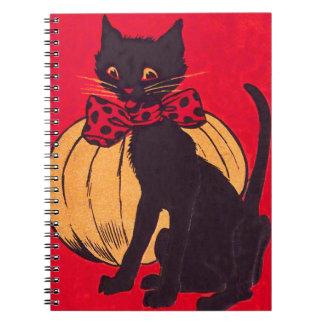 Black Cat Bowtie Pumpkin Vintage Spiral Note Book