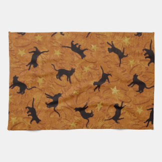 Black Cat Crossing in Orange Tea Towel