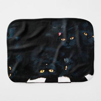 Black Cat Cuddle Baby Burp Cloths