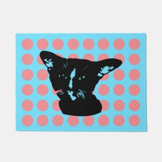 Black Cat Dots Doormat