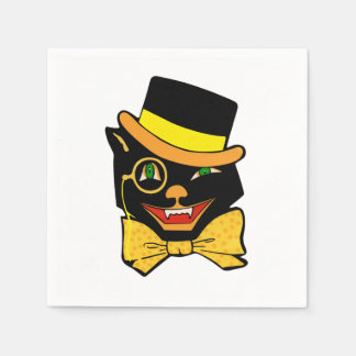 Black Cat in a Top Hat Disposable Napkins