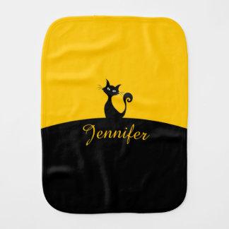 Black Cat Minimal Art, Your Name Burp Cloth