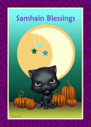 Samhain blessings cards invitations zazzle black cat moon samhain blessings greeting card m4hsunfo
