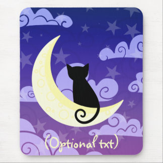 Black cat on the moon in starry night sky mousepad