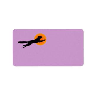 Black Cat Orange Moon Halloween Labels