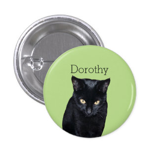 Black Cat real Photo Personalized Pinback Buttons