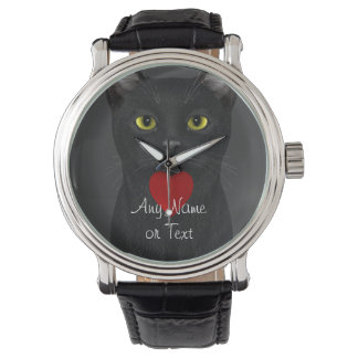 Black Cat - Text Personalizable Watch