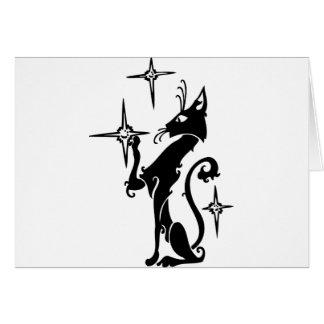 Black Cat Touching Stars Greeting Card