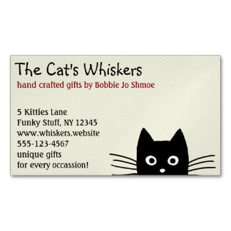 Black Cat with Long Whiskers Magnetic Business Card