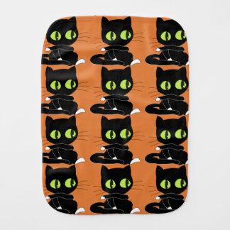Black Cat with Orange Background Burp Cloth
