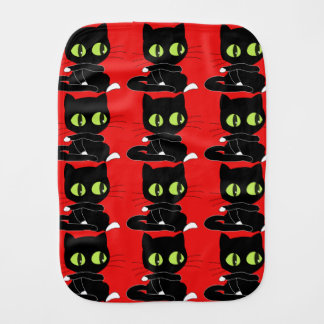Black Cat with Red Background Burp Cloth