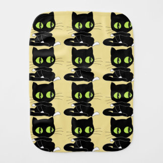 Black Cat with Yellow Background Burp Cloth