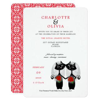 Black Cats Lesbian Marriage Purrr..fect Wedding Card