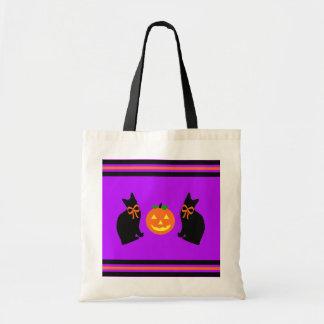 """""""Black Cats & Pumpkins"""" Treats Tote Canvas Bags"""